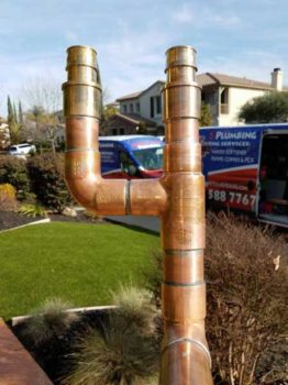 """Copper Pipe Copper the """"gold standard"""" for domestic water systems. We use only USA made copper pipe and fittings. There are a lot of recycled copper products in the market that can compromise and cause home flooding. Since we have warranty for our repipe, we can't afford to use cheap products. Copper comes in several grades (M,L,K and more). Copper pipe has the highest pressure and temperature ratings of all domestic water pipe options."""